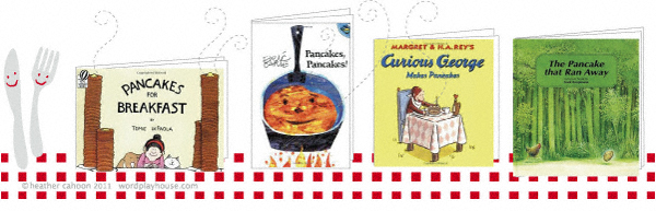 Pancake-books-on-tablecloth
