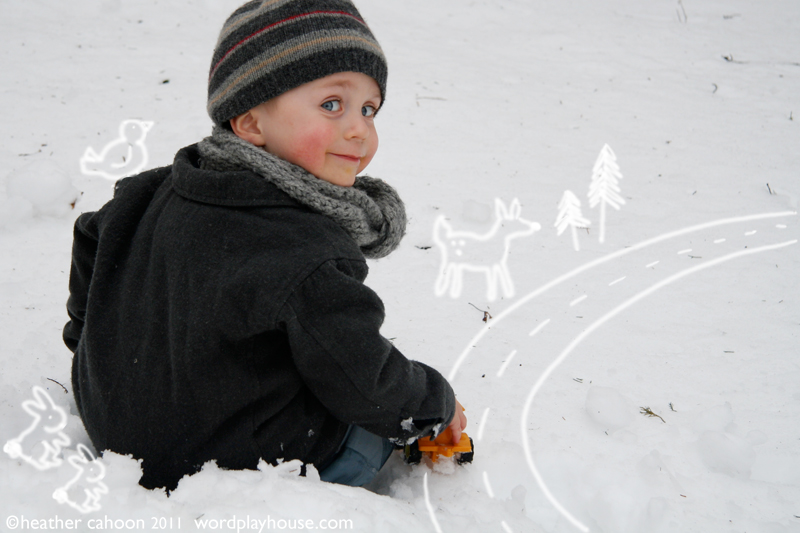 Boy-playing-with-toy-truck-in-snow-illustration