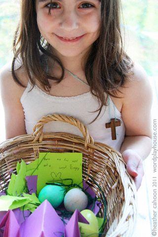 Girl-holding-basket-of-easter-eggs
