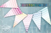 Rainbow-ombre-chevron-banner-customizable