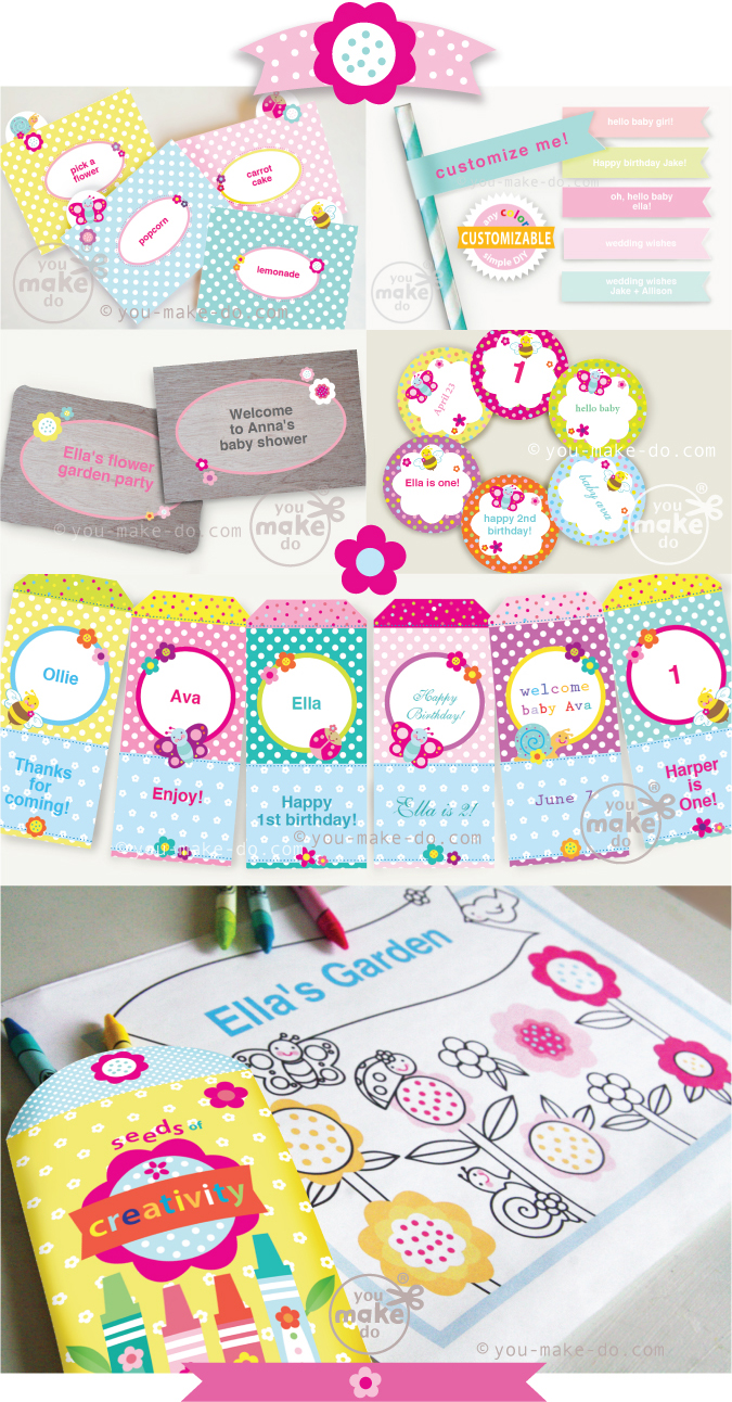 Flower-party-printables
